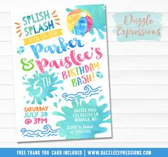 Printable Twins Watercolor Pool Party Birthday Invitation | Boy and Girl Birthday Party for any age! | Water Park Invite | Double Party | Beach Ball Invite | Pool  | Waterpark | Swimming | Splish Splash | Splash Pad | Water Slide | Summer Water Party | FREE thank you card included | Printable Matching Party Package Decorations Available! Banner | Signs | Labels | Favor Tags | Water Bottle Labels and more! www.dazzleexpressions.com