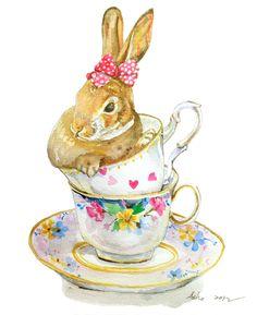 Original Rabbit Watercolor-8x10,Teacup, Nursery Art. $20.00, via Etsy.