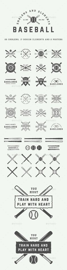 26 Baseball Emblems Set of vintage baseball logos, badges, emblems and design elements Can be used for logo design, badge design, emblems, sport, shop sign and much more.  You get:  26 emblems 17 design elements 2 posters Product features: All files are in AI, EPS, PSD, PNG and JPG formats. 100% Vectors / Fully scalable / Fully editable; Text 100% editable and can be easely removed. Fonts and mock-ups are not included. List of used fonts: Norwester OctinSportsRg-Regular Barley