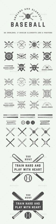 26 Baseball Emblems Template PSD, Vector EPS, AI Illustrator