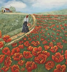 """Exhausted farm wife dragging herself and a basket of poppies toward a tiny house. no local pick up. Signed, lower right """"Florencia, 1992 """". Watercolor Paintings, Original Paintings, Art Paintings, Original Artwork, Barn Signs, Orange Painting, Primitive Folk Art, Outsider Art, Red Poppies"""