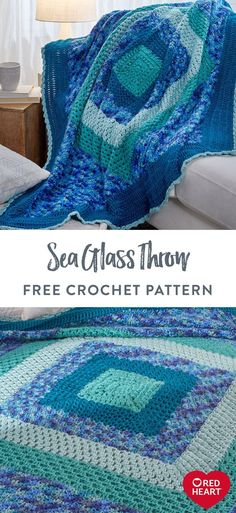 Yarnspirations is the spot to find countless free intermediate crochet patterns, including the Red Heart Sea Glass Throw. Browse our large free collection of patterns & get crafting today! Crochet Afghans, Crochet Ripple, Manta Crochet, Chunky Crochet, Afghan Crochet Patterns, Crochet Squares, Baby Blanket Crochet, Free Crochet, Knit Crochet