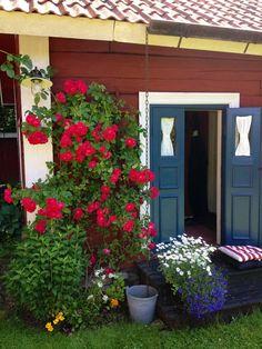 Swedish Farmhouse, Swedish Cottage, Red Cottage, Cottage Living, Garden Cottage, Cottage Style, Big Garden, Lush Garden, Home And Garden