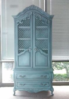 Cabinet Armoire Tallboy French Provincial Country French Chest Dresser by Hickory Shabby Chic Coastal Cottage Farmhouse #frenchcoastalcottage