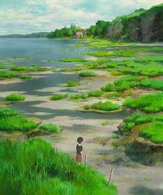 Studio Ghibli — When Marnie Was There Vertical Pans - Dir Hiromasa. Studio Ghibli Background, Animation Background, Studio Ghibli Art, Studio Ghibli Movies, Hayao Miyazaki, Fantasy Landscape, Landscape Art, Totoro, Nausicaa