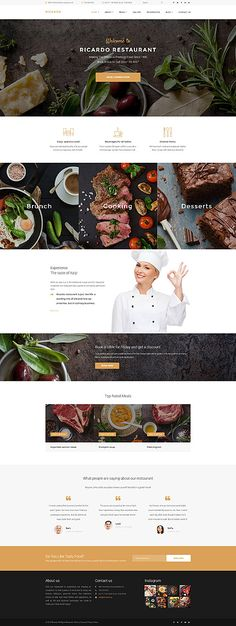 Cafe and Restaurant website inspirations at your coffee break? Browse for more WordPress #templates! // Regular price: $75 // Sources available:.PHP, This theme is widgetized #Cafe and Restaurant #WordPress