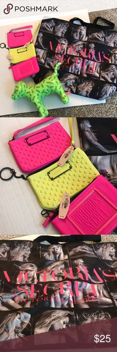 Victoria secret bundle 3 zip pouches with tags still on (each were $12 or $14). 1 large green dog VS PINK with tags on (value:29.95). 1 large LIMITED EDITION Candice Swanepoel tote (value: $50) Victoria's Secret Accessories