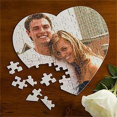 CUTE! You can create a heart-shaped puzzle with your own photo! This is a cute Valentine's Day gift idea for Him or Her! You can spend quality time putting it together on Valentine's Day!