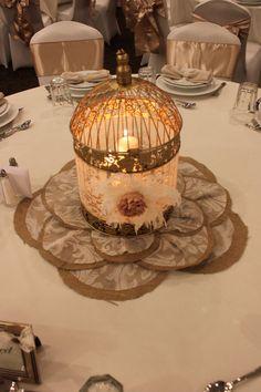 Wedding, Bridal, Home Decor , Burlap Lace Flower Table Runner. $19.00, via Etsy.