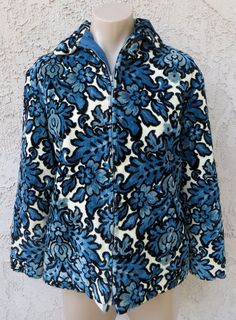 Vintage 1960's blue/white damask cotton by CattywampusVintage