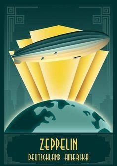 Zeppelin art deco by TKRabe.deviantart… on Zeppelin art deco by TKRabe.deviantart… on Art Deco Artwork, Art Deco Paintings, Art Deco Posters, Retro Posters, Art Deco Illustration, Retro Kunst, Retro Art, Motif Art Deco, Art Deco Design