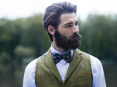 full thick dark beard and mustache suit bowtie bow tie beards bearded man men mens' style