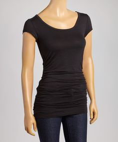 Look what I found on #zulily! Black Ruched Tee by POPULAR BASICS #zulilyfinds