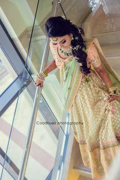 Ditch the bold red and go for a pastel shade lehenga Salwar Designs, Lehenga Designs, Pastel Shades, Pastel Purple, Golden Lehenga, Night Time Wedding, Mehendi Outfits, Designer Bridal Lehenga, Wedding Function