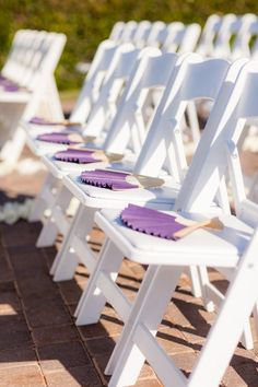 Purple White Country Club Fans and Parasols Outdoor Ceremony Wedding Favors Photos & Pictures - WeddingWire.com