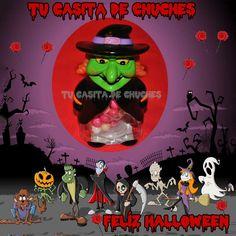 Las huchas mas terrorificas, por supuesto llenas de las indispensables chuches para Halloween en www.tucasitadechuches.com Varios modelos: bruja, demonio, calavera...
