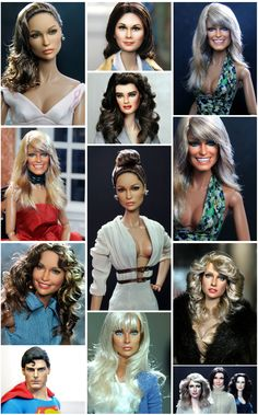 Jennifer LoPez AKA Jlo AKA, Madonna, Farrah Fawcett, Cheryl Ladd, Jaclyn Smith, Kate Jackson, Lindsay Wagner, RuPaul, Chris Reeves, Angelina Jolie, Brooke Shields and more... as repainted and restyled by Noel Cruz of ncruz.com for myfarrah.com.