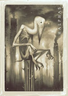 Halphus/Malthus- Christian myth: an earl of hell that appears as a stork. he speaks in a horse voice. his goal is to build up towers and fill them with weapons, and to send men to war. Mythological Creatures, Mythical Creatures, Scary Legends, Supernatural Beings, Demonology, Cryptozoology, Angels And Demons, Stork, Creature Design
