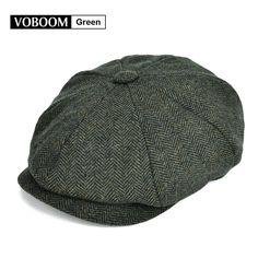 9ec9eee6c7a34 Details about New Mens Tweed Green Herringbone NewsBoy Cap 8 Panel Gatsby  Baker Boy Cap