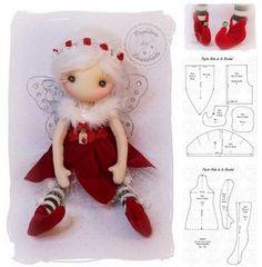 Christmas elf doll with - Oscar Wallin Diy Christmas Angel Ornaments, Christmas Elf Doll, Christmas Sewing, Festive Crafts, Felt Crafts, Christmas Crafts, Diy Crafts, Felt Doll Patterns, Pink Doll