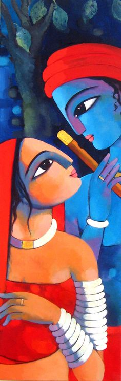 Canvas Works Acrylic on canvas by Sekhar Roy | RADHA KRISHNA