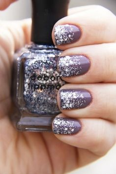 Prom Nails: 15 Ideas For Your Perfect Manicure   Sparkle Ombre Nails   Purple & Silver Nails for Prom