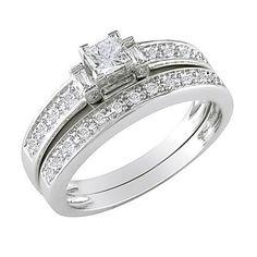 10K White Gold Diamond Bridal Set Silver