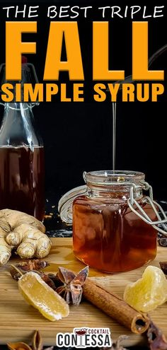 The idea for this fall simple syrup comes from a triple syrup recipe. The concept of a triple simple syrup, made famous by Dale DeGroff, is a blend of white sugar, agave nectar and honey together to make a simple syrup that has more complexity, character and layers than a typical single sweetener simple syrup.   @cocktailcontessa #howtomakesimpelsyrup #fallcocktails #craftcocktails #cocktails Whiskey Cocktails, Craft Cocktails, Holiday Cocktails, Fruity Alcohol Drinks, Drinks Alcohol Recipes, Cocktail Syrups, Cocktail Recipes, Recipe Maker, Hot Buttered Rum