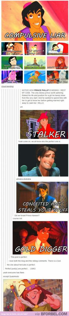 The problem with all the Disney Princes. Hmm… Never looked at it that way.