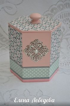 Home Crafts, Diy And Crafts, Shabby Chic Boxes, Hexagon Box, Decoupage Printables, Prayer Box, Decoupage Box, Box Patterns, Diy Origami