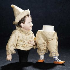 Rare French Paper Mache Candy Container in Original Costume as Impish Clown 1200/1600