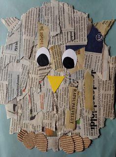 Sanomalehti pöllö syntyy helposti ja hauskasti vanhoista lehdistä. Aloita piirtämällä ja leikkaamalla pöllölle pohja paperista tai pahvista...