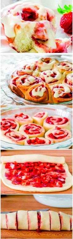 Strawberry Rolls with Cream Cheese Icing - cake, cheese, cream, dessert, milk, recipes, strawberry