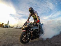 Photo of the Day! Burnin' rubber. Photo byGuru Stunts. #GoPro #burnout #motorcycle #GoProMoto
