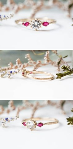 White Sapphire & Ruby Engagement Ring    Three Stone Engagement Ring    Marquise Engagement Ring    Alternative Engagement Ring Alexandrite Engagement Ring, Leaf Engagement Ring, Alternative Engagement Rings, 14k Gold Ring, Gold Rings, Budget Friendly Engagement Rings, Twig Ring, Marquise Ring, Pink Weddings