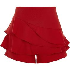 River Island Red tiered frill structured skort (1.730 RUB) ❤ liked on Polyvore featuring shorts, red, sale, women, mini skort, red ruffle skirt, red mini skirt, asymmetrical ruffle skirt and mini skirts