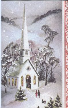 Vintage Christmas Card Church IN Falling Snow