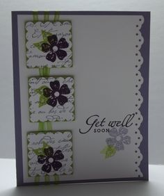 lovely get well card...like the thin ribbon behind the inchies...