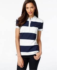 Tommy Hilfiger Polo Top, Rugby Stripe - Tops - Women - Macy's Weekend Style, Tommy Hilfiger Women, Polo T Shirts, Striped Shorts, My Style, Rugby, Mens Tops, Clothes, Sleeve