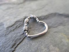 Barbed Wire Silver Heart Daith or Cartilage Ear Piercing Left or Right Side Daith Piercing Jewelry, Daith Rings, Body Piercings, Ear Rings, Belly Button Jewelry, Multiple Ear Piercings, Body Jewellery, Peircings, Hair Jewelry