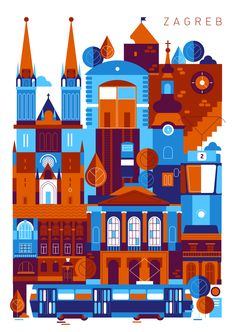 Zagreb Art Print by Koivo Zagreb, capital of Croatia City Illustration, Graphic Design Illustration, Croatia Pictures, Charcole Drawings, Zagreb Croatia, Vintage Travel Posters, Concert Posters, Street Art, Art Prints