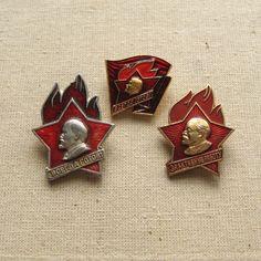 Set of 3 Soviet Pioneers Pins, Made in USSR 80's, Communist Pin, School Pupils Pin, Vintage Brooch, Young Lenin Badge, Soviet School Pin https://www.etsy.com/shop/MyBootSale