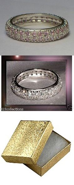 Other Wedding and Anniv Bands 92866: 925 Sterling Silver 5 Mm Wide Pave Pink October Eternity Lady Ring Band Size 5-9 -> BUY IT NOW ONLY: $39.99 on eBay!