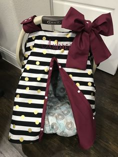MOD Baby - Black Stripe Gold Dot with Wine Maroon Baby Car Seat Cover - Ready To Ship - Baby Shower Gift - Baby Girl - Bows Incl - Baby girls nursery - Bebe Baby Girl Bows, Girls Bows, Baby Girl Gifts, Baby Boy, Black Baby Girl Names, Black Babies, Boy Names, Carters Baby, Baby Girl Car Seats
