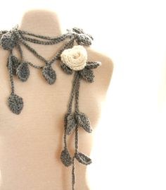 Crochet Lariat Necklace Rose Scarf Whimsical by nightowlcreates, $30.00