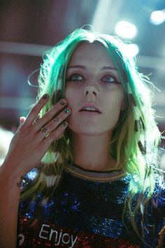 wildthicket:  Chloe Norgaard backstage at Ashish S/S 2014...