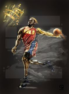 LeBron James 'Golden Arm' Caricature Art - Hooped Up