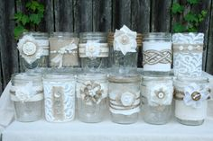 Burlap & Lace Mason Jars Shipping Included by TheBreadBarn on Etsy Mason Jar Projects, Mason Jar Crafts, Bottle Crafts, Wedding Jars, Rustic Wedding, Burlap Crafts, Diy And Crafts, Lace Mason Jars, Decoration Shabby