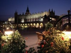 Main Market Square in Krakow at night. A great place for dinner and lingering conversation.