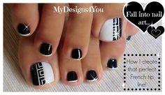 Greek Style Toenail Art | Monochrome Pedicure ♥ Diseño de uñas de pies